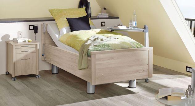 Komfortbett mit Pflegebett-Funktion Isar in Dekor Akazie hell