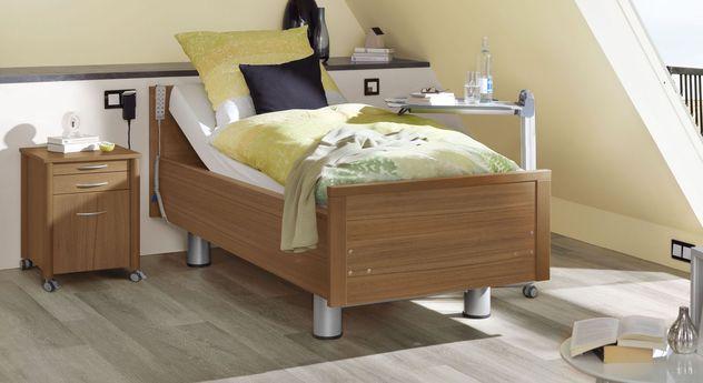 Komfortbett mit Pflegebett-Funktion Isar in Nussbaum Dekor