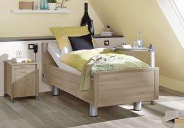 Komfortbett mit Pflegebett-Funktion Isar in Holznachbildung