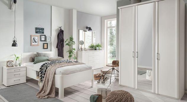 Komplett-Schlafzimmer Cavallino aus alpinweißem Dekor
