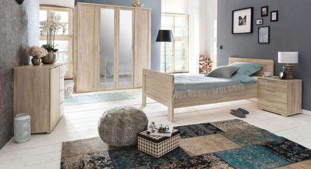 Günstiges Komplett-Schlafzimmer Sinello aus Dekor in Holzoptik