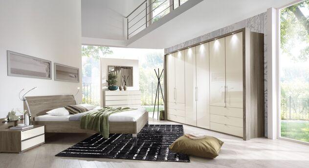 Komplett-Schalfzimmer Tiko aus Trüffeleiche-Dekor mit Glasfronten