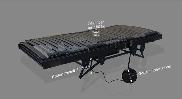 Maßgrafik zum Lattenrost orthowell liftflex motor