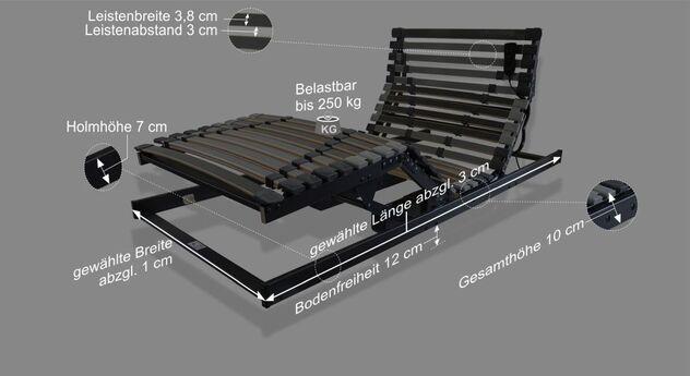 Bemaßungsgrafik vom Lattenrost orthowell ultraflex XXXL Motor