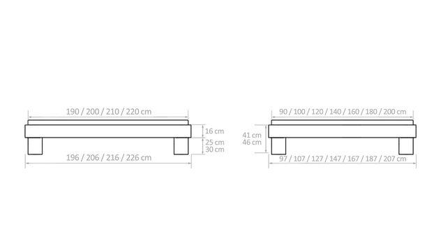 Liege Lucca Komfort mit Bemaßungs-Grafik