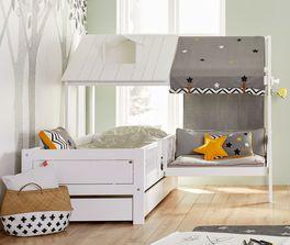 Modernes LIFETIME Bett & Sofa Ferienhaus in Weiß lackiert