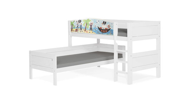 LIFETIME Eck-Etagenbett Pirat in deckendem Weiß lackiert