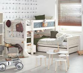 LIFETIME Eck-Etagenbett Original aus weiß lasierter Kiefer