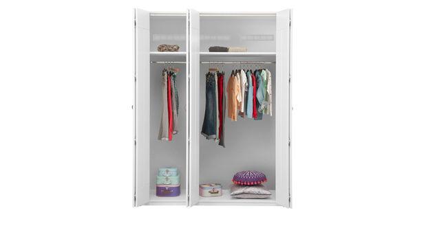 LIFETIME Falttüren-Kleiderschrank mit Hutboden und Kleiderstange