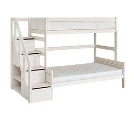LIFETIME Familienbett Original mit Treppenmodul in Weiß lasiert