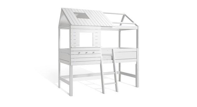 lifetime h tten hochbett aus kiefer wei lackiert. Black Bedroom Furniture Sets. Home Design Ideas