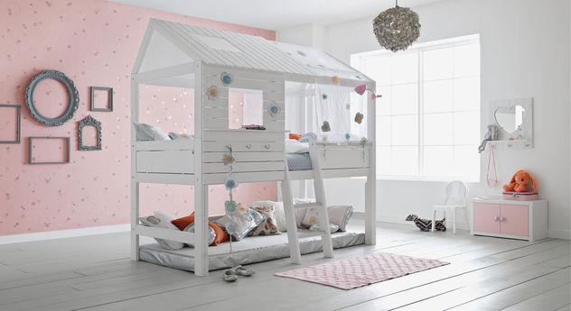 Weiß lackiertes Hütten-Hochbett Sternenglanz von LIFETIME