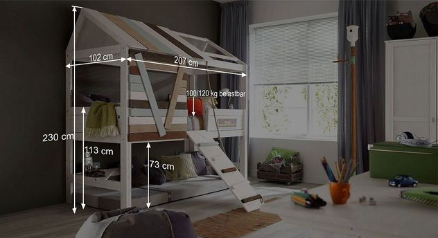 hohes lifetime spielbett aus kiefer in baumhaus optik. Black Bedroom Furniture Sets. Home Design Ideas