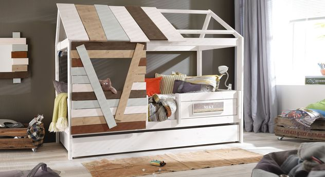 Hochwertiges Hüttenbett Survival von LIFETIME mit mehrfarbigem Dach