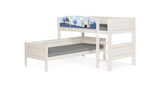 LIFETIME Eck-Etagenbett Ritter in Weiß lasiert für Kinder