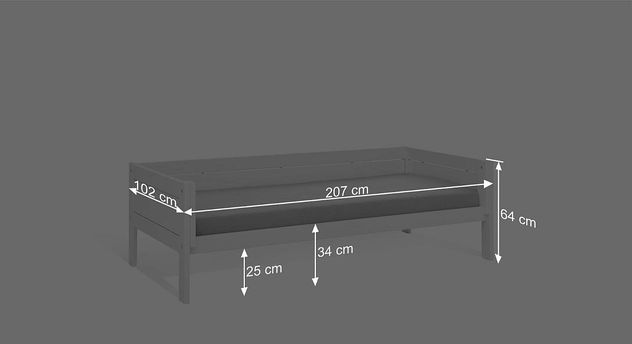 Bemaßungsgrafik zum Jugendbett des LIFETIME Kinderbetts 4in1