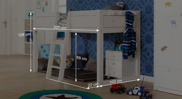 Bemaßungsgrafik zum Mini-hochbett des LIFETIME Kinderbetts 4in1
