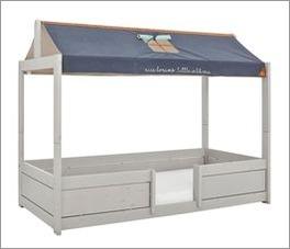 LIFETIME Kinderbett 4-in-1 Forest Ranger mit Stoffdach und Massivholz-Dachfirst