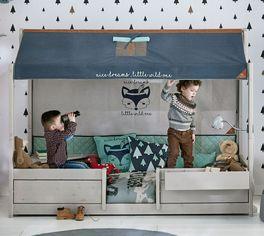 LIFETIME Kinderbett 4-in-1 Woodland aus Holz mit kinderfreundlichen Motiven