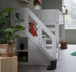 LIFETIME Midi-Hochbett Original mit Treppenmodul für moderne Kinderzimmer