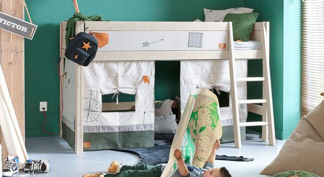 lifetime midi hochbett aus massiver kiefer mit leiter. Black Bedroom Furniture Sets. Home Design Ideas