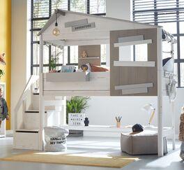 LIFETIME Midi-Hüttenbett Hideout mit Treppenmodul und Fenster