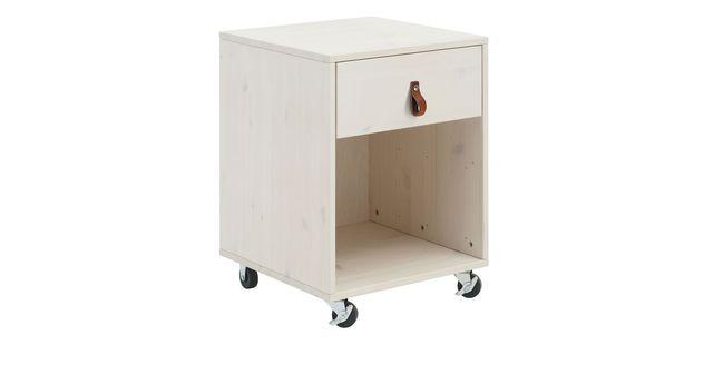 LIFETIME Rollcontainer Original mit rustikalem Ledergriff an der Schublade