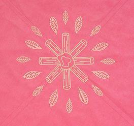 LIFETIME Teppich Lagerfeuer in Pink mit Indianer-Federmortiv