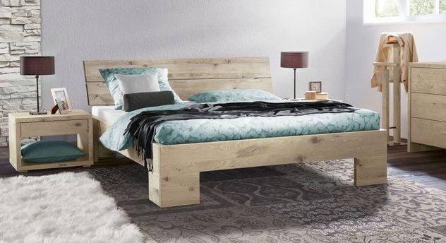 Massivholz-Bett Titao aus weißer Wildeiche