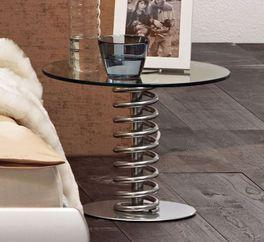 Metall-Nachttisch Elastic mit runder Glasablageplatte