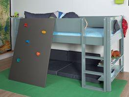 Hochwertiges Mini-Hochbett Kids Town Color mit Kletterwand aus MDF