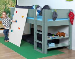 Mini-Hochbett Kids Town Color mit Kletterwand inklusive Roll-Lattenrost