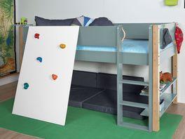 Mini-Hochbett Kids Town Color mit Kletterwand optional auch mit Buchenpfosten erhältlich
