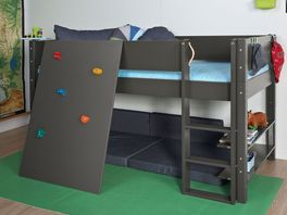 TÜV geprüftes Mini-Hochbett Kids Town Color mit Kletterwand