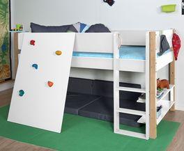 Robustes Mini-Hochbett Kids Town mit Kletterwand und Buchenpfosten