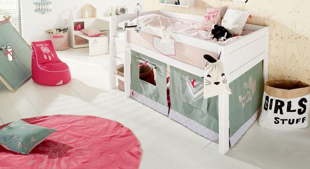 Weiß lackiertes LIFETIME Mini-Hochbett Sioux für Mädchenzimmer