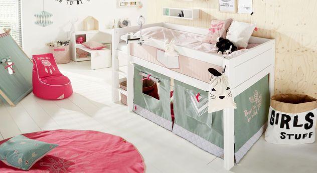 LIFETIME Mini-Hochbett Sioux mit Zubehör für Mädchenzimmer