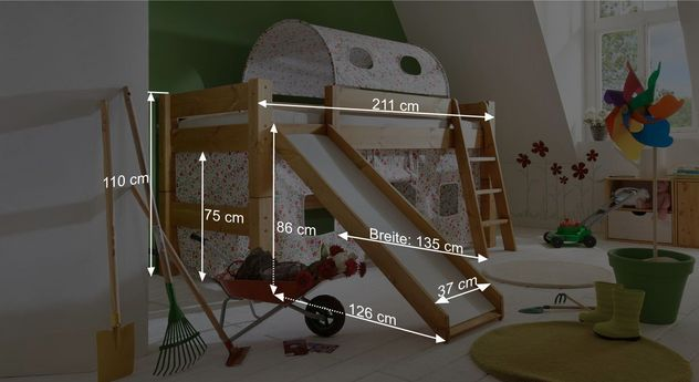 Mini-Rutschen-Hochbett Kids Dreams mit Maßgrafik