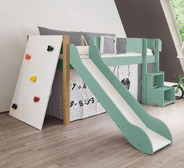 Mini-Rutschen-Hochbett Kids Town Color mit Kletterwand und Buchepfosten für Kinderzimmer