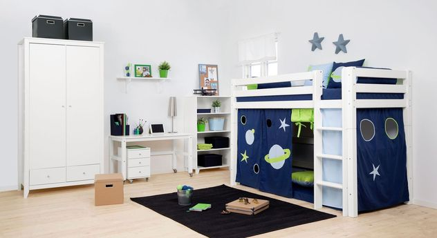 komplett kinderzimmer im weltall look mit hochbett weltraum. Black Bedroom Furniture Sets. Home Design Ideas