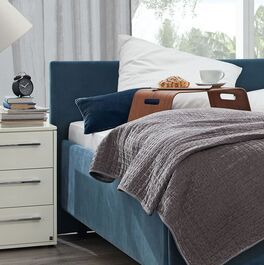 MUSTERRING Bett Epos mit geradlinigem Kopfteil und Stoffbezug