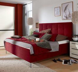 MUSTERRING Bett Epos mit Kopfteil in Quadratsteppung mit Stoffbezug