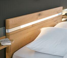 MUSTERRING Bett Savona 2.0 mit massivem Eichenholz-Kopfteil