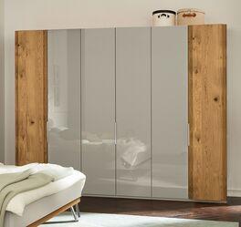 MUSTERRING Drehtüren-Kleiderschrank Saphira kieselgrau mit Außentüren aus Holz