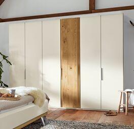 Musterring Drehtüren-Kleiderschrank Saphira Weiß mit Holzabsetzung