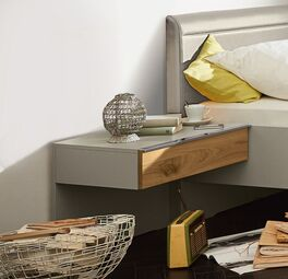 MUSTERRING Schwebe-Nachttisch Saphira kieselgrau passend zum Bett