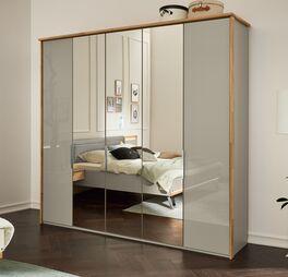 MUSTERRING Spiegel-Kleiderschrank Saphira kieselgrau optional mit Eichenholzrahmen