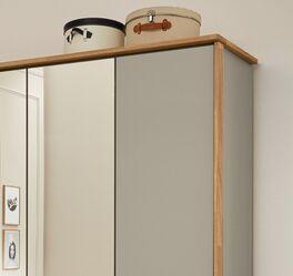 MUSTERRING Spiegel-Kleiderschrank Saphira kieselgrau optional mit Holzrahmen