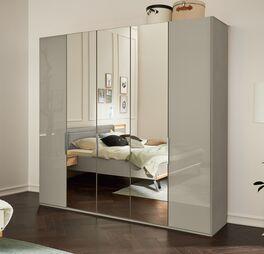 Moderner MUSTERRING Kleiderschrank Saphira kieselgrau mit vollflächigen Spiegeln