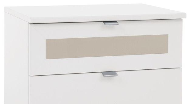 Nachttisch Filetto mit modernem Glaseinsatz